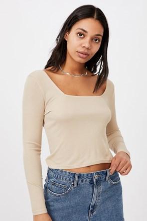 Γυναικείο basic μπλουζάκι με μακρύ μανίκι Serena μπεζ