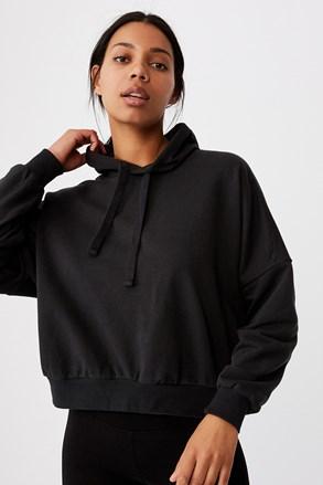 Γυναικείο φούτερ με κουκούλα Favourite Oversized μαύρο