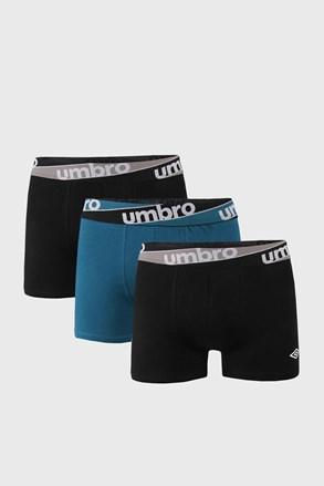 3 PACK μπλε με μαύρο μποξεράκια Umbro