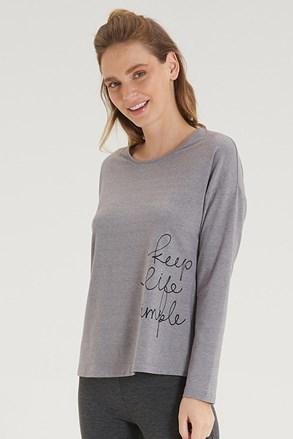 Γυναικεία γκρι μπλούζα με μακρύ μανίκι