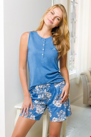 Γυναικείο κοντό σύνολο πιτζάμας μπλε