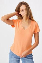 Γυναικεία basic κοντομάνικη μπλούζα One apricot