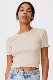 Γυναικείο μπεζ μπλουζάκι με κοντό μανίκι Pointelle Crop