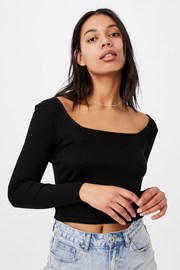 Γυναικείο basic μπλουζάκι με μακρύ μανίκι Serena μαύρο