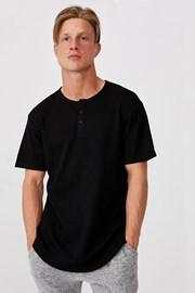 Μαύρο μπλουζάκι Henley