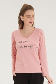 Γυναικεία ροζ μπλούζα με μακρύ μανίκι