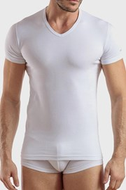 Ανδρικό μπλουζάκι V neck λευκό