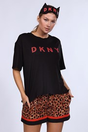 Σετ πιτζάμας με μάσκα ύπνου DKNY Brown Animal
