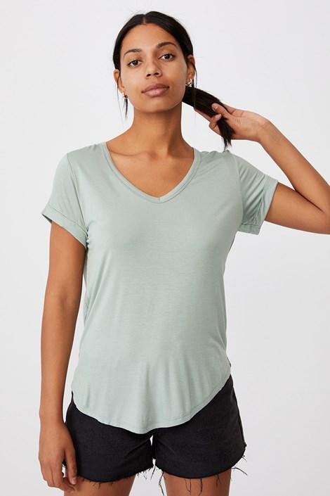 Γυναικείο basic μπλουζάκι με κοντό μανίκι Karly ανοιχτό πράσινο