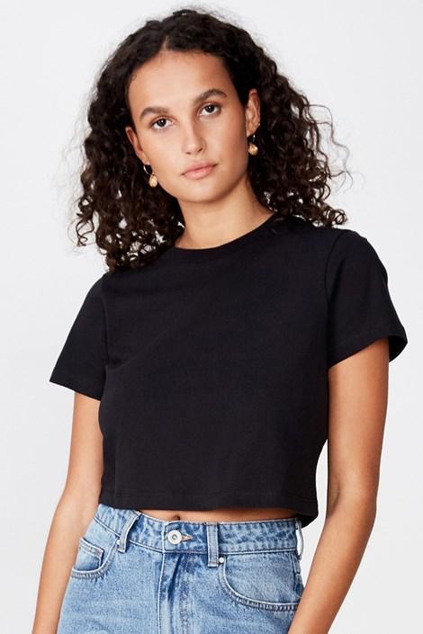 Γυναικεία basic κοντομάνικη μπλούζα Baby μαύρη