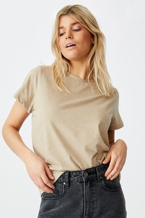 Γυναικείο basic κοντομάνικο μπλουζάκι Crew μπεζ
