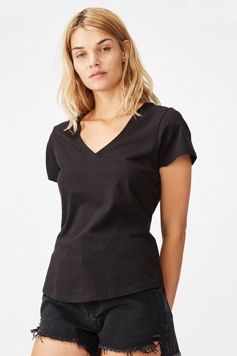 Γυναικεία basic κοντομάνικη μπλούζα One μαύρη