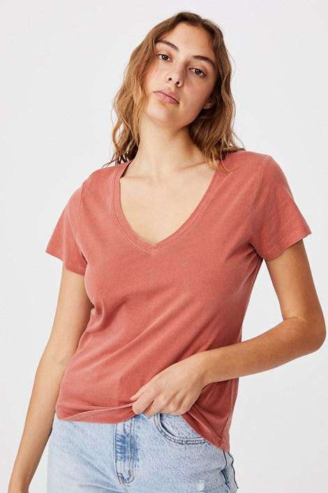 Γυναικεία basic κοντομάνικη μπλούζα One κεραμιδί