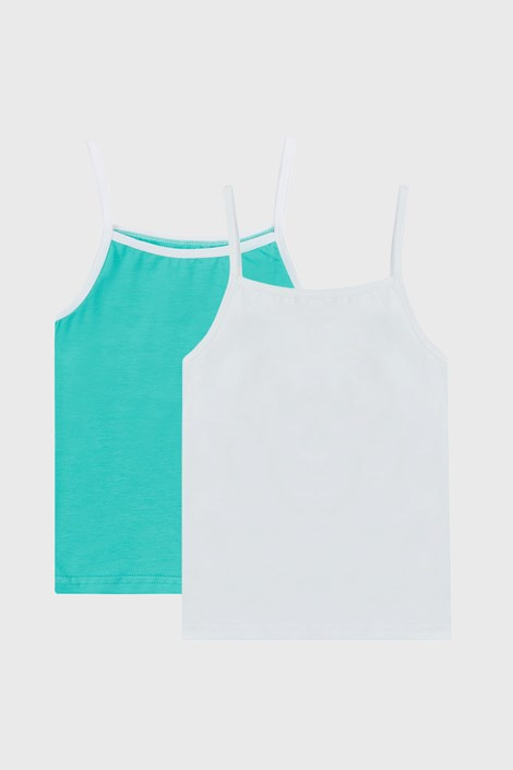 2 PACK λευκά και πράσινα basic φανελάκια για κορίτσια
