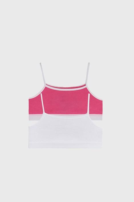 2 PACK basic μπουστάκια για κορίτσια ροζ με λευκό