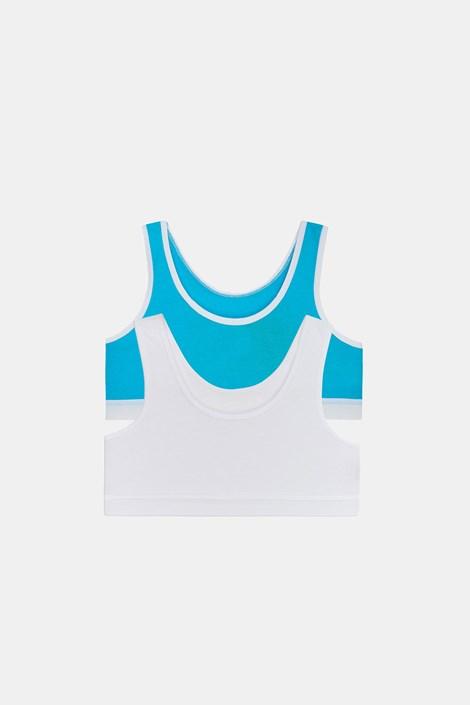 2 PACK basic μπουστάκια για κορίτσια Crop μπλε με λευκό
