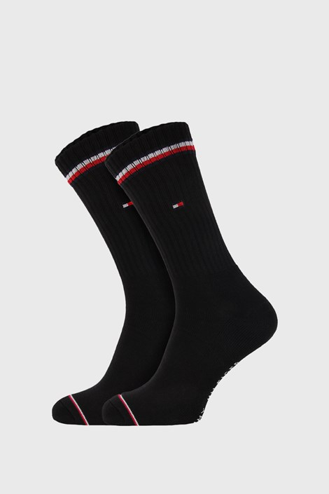 2 PACK ψηλές κάλτσες Tommy Hilfiger Iconic μαύρες