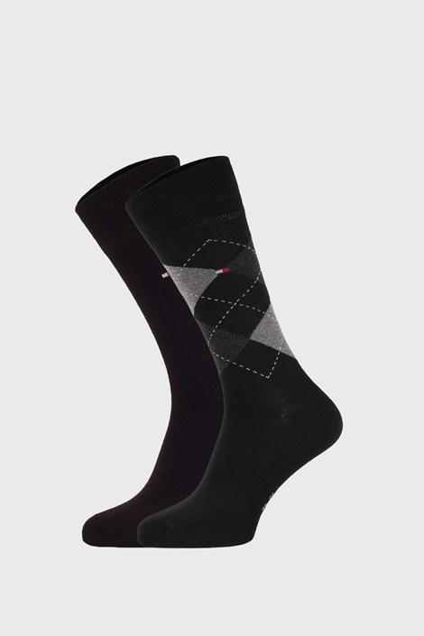 2 PACK μαύρες κάλτσες Tommy Hilfiger Check