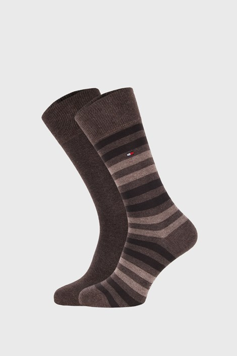 2 PACK κάλτσες Tommy Hilfiger Duo Stripe μπεζ / καφέ
