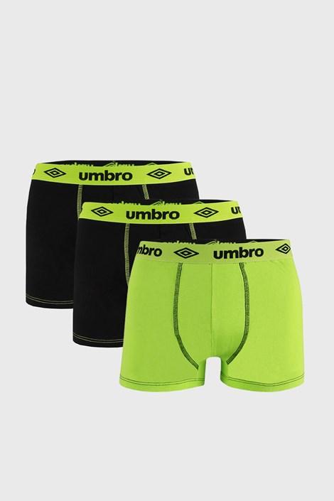 3 PACK μαύρο με πράσινο μποξεράκι Umbro BIO